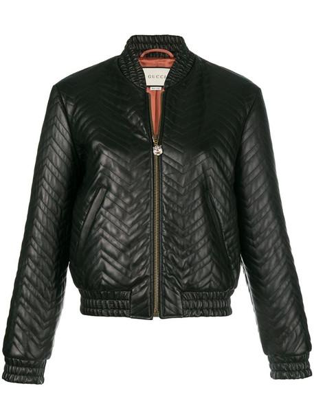Gucci matelassé bomber jacket in black
