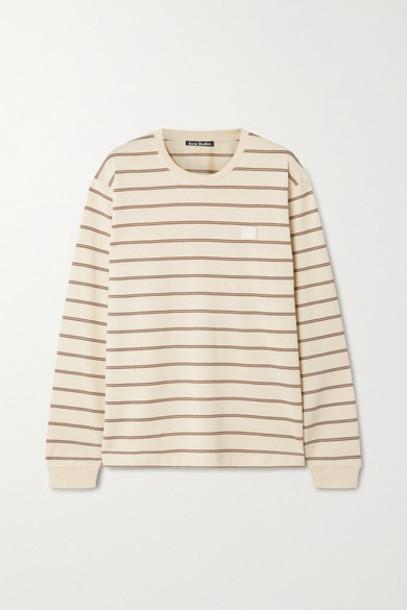 Acne Studios - Appliquéd Striped Cotton-jersey T-shirt - Beige