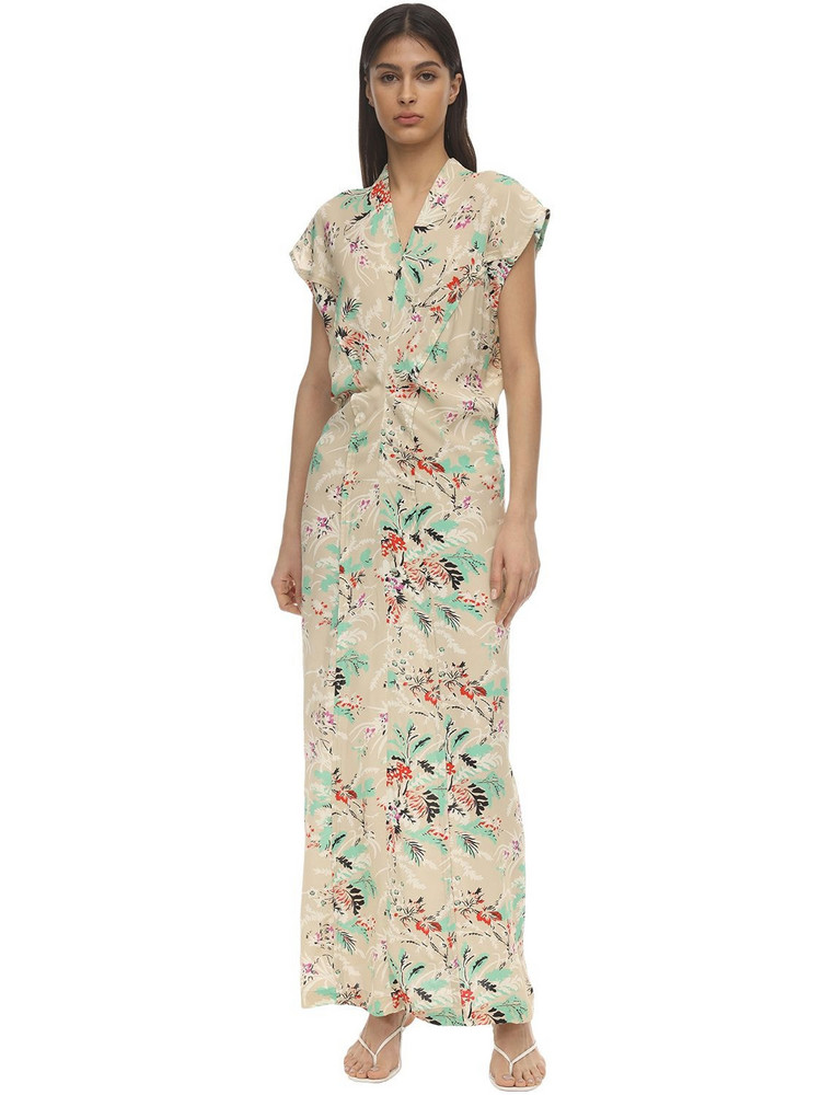 COLVILLE Flower Print Viscose Midi Dress