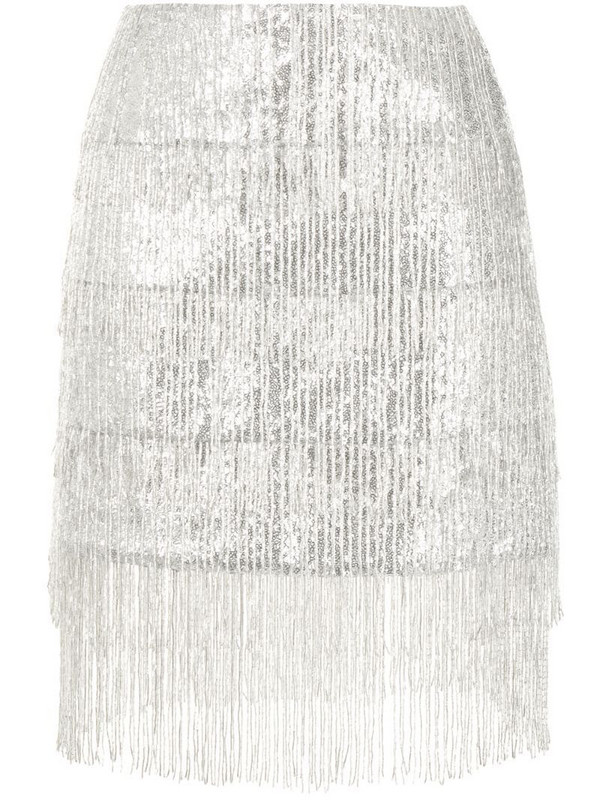 Macgraw Thistle fringed sequined skirt in silver