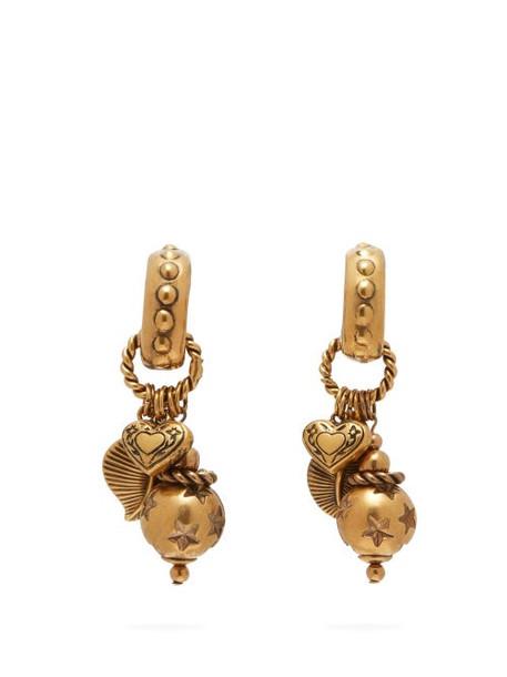 Etro - Charm Drop Hoop Clip Earrings - Womens - Gold