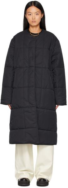 Studio Nicholson Black Padded Pieper Coat in navy