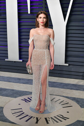 shoes,nude,nude dress,nude heels,emma roberts,celebrity,gown,prom dress,slit dress,off the shoulder,off the shoulder dress