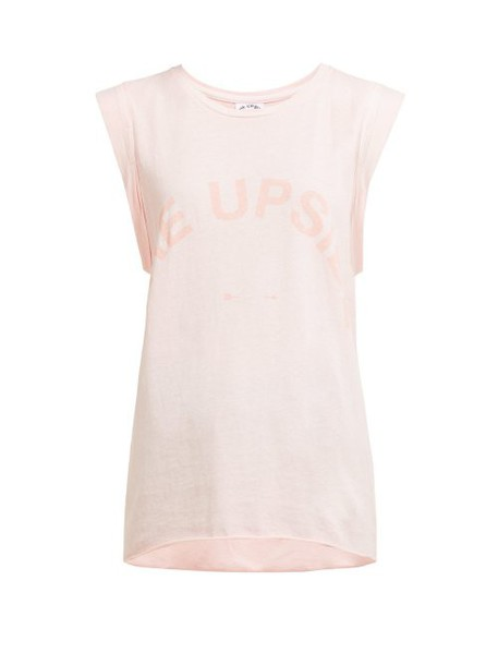 The Upside - Issy Logo Printed Cotton Jersey Tank Top - Womens - Light Pink