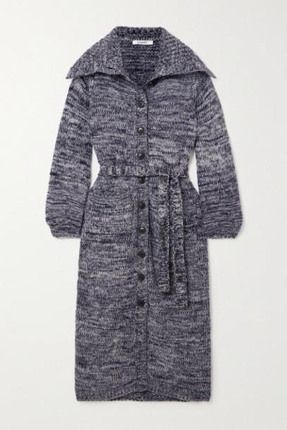 FRAME - Belted Mélange Wool-blend Cardigan - Navy