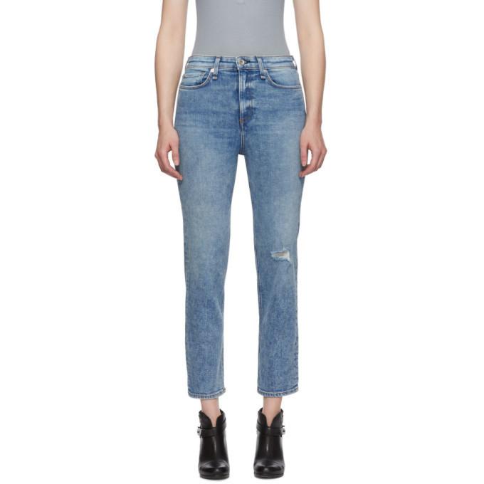 rag and bone rag & bone Blue Nina High-Rise Ankle Cigarette Jeans