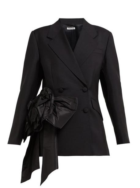 Miu Miu - Floral Organza Mohair And Wool Blend Blazer - Womens - Black