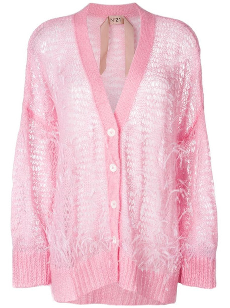Nº21 oversize open-knit feather cardigan in pink