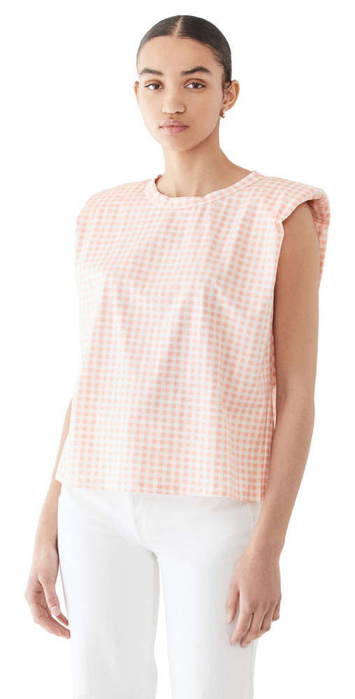 ENGLISH FACTORY Gingham Shoulder Pad T-Shirt in pink