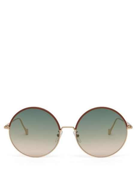 Loewe - Round Metal And Leather Sunglasses - Womens - Black Gold