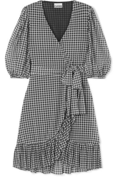 GANNI - Gingham Mesh Wrap Mini Dress - Black