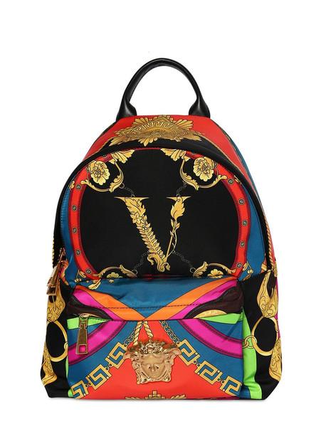VERSACE Printed Backpack in black