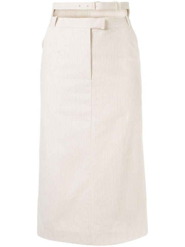 pushBUTTON double-waistband pinstriped midi skirt in neutrals