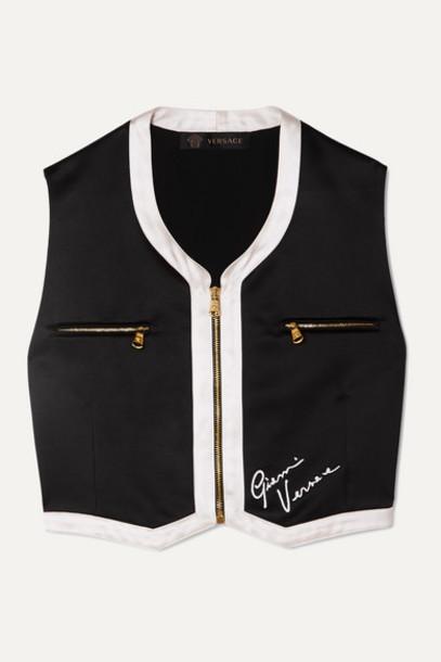 Versace - Cropped Embroidered Satin Vest - Black