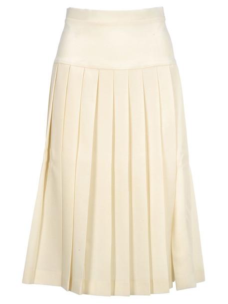 Alessandra Rich Pleates Skirt in white