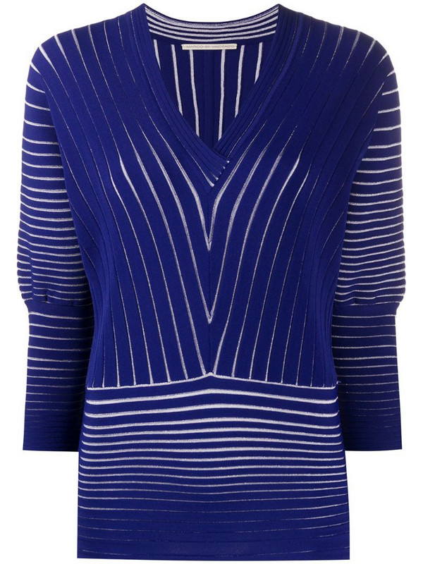 Marco De Vincenzo ribbed V-neck top in blue