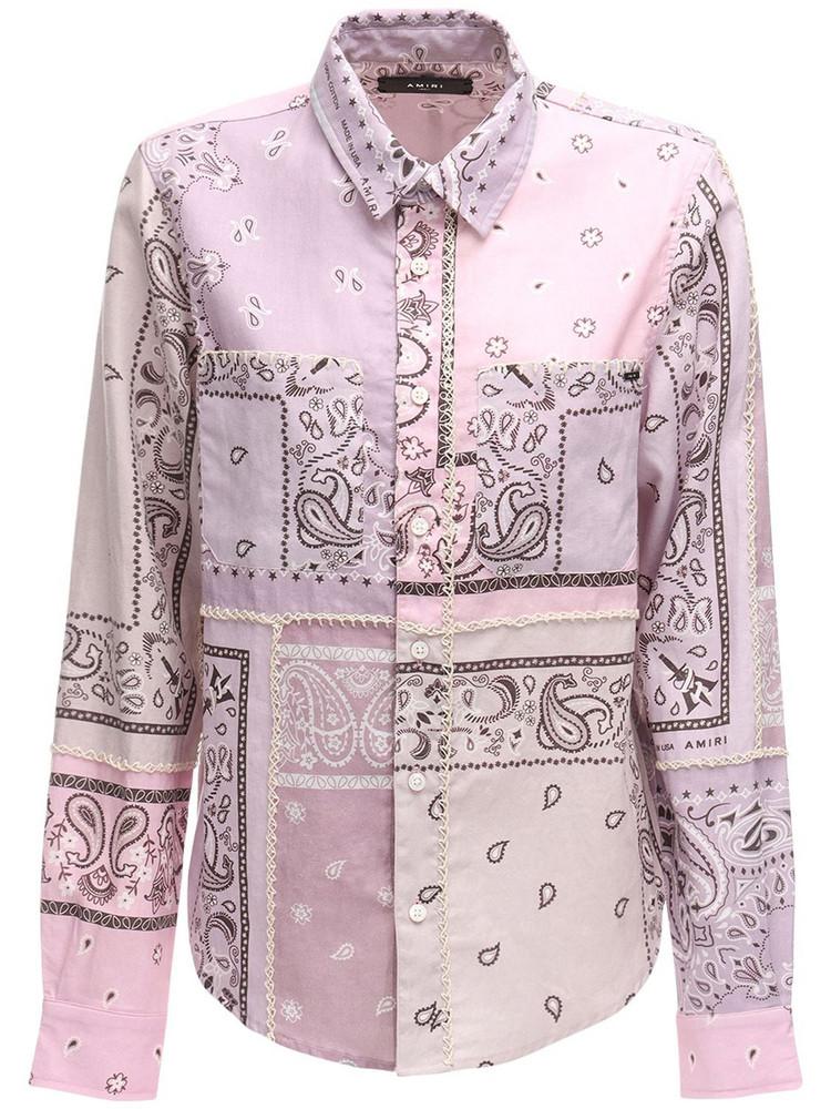 AMIRI Bandana Print Flannel Shirt in lilac / multi