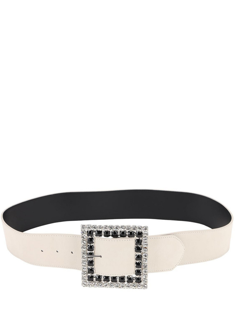 ALESSANDRA RICH 50mm Suede & Crystal Belt in white
