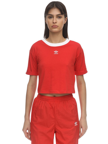 ADIDAS ORIGINALS Cropped Logo Cotton T-shirt in red