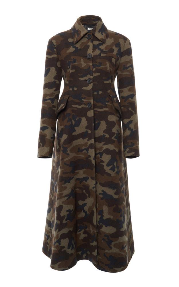 Miu Miu Long Camouflage Overcoat in print