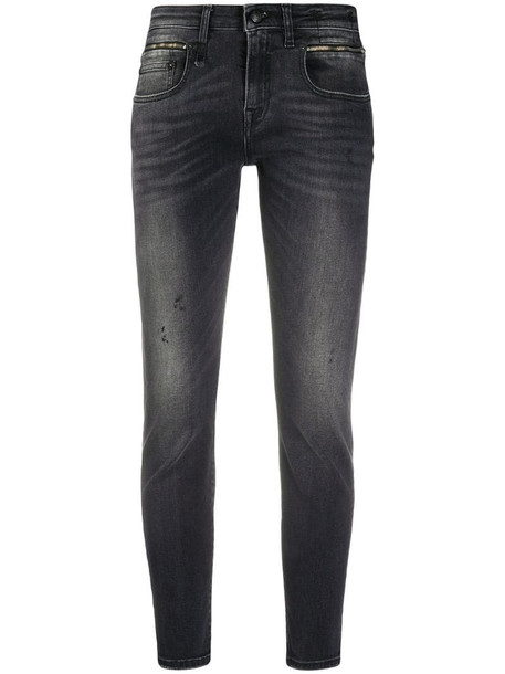 R13 distress skinny jeans in grey