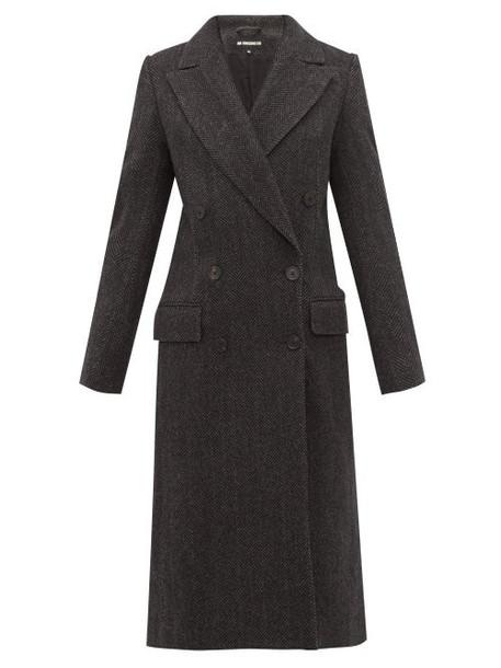 Ann Demeulemeester - Double Breasted Wool Herringbone Coat - Womens - Black Grey