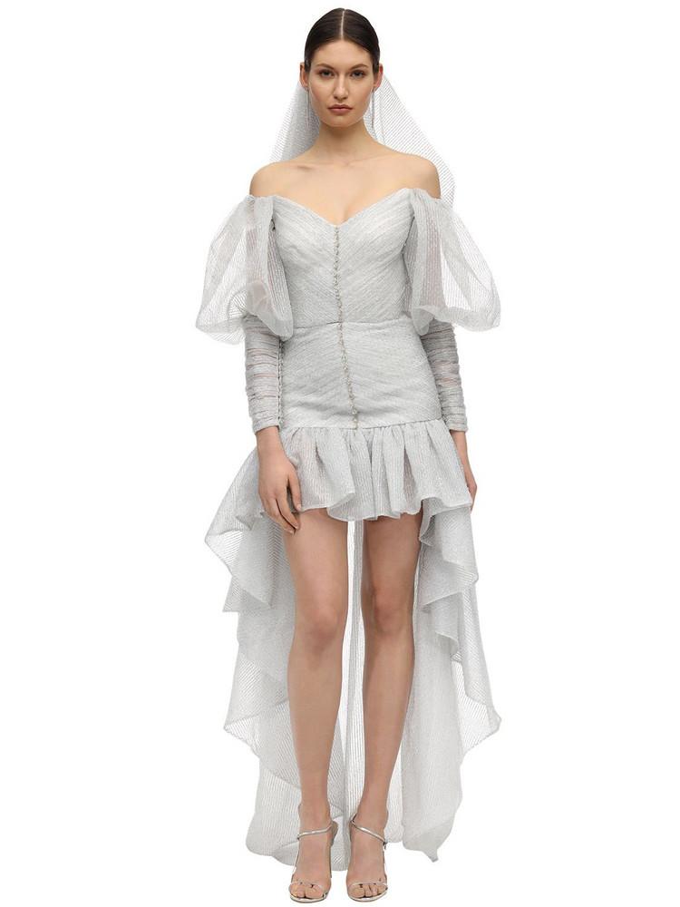 SANDRA MANSOUR Ruffled Organza Dress W/ Glitter in silver / white