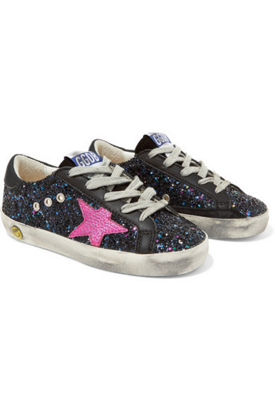 Golden Goose Deluxe Brand Kids - Size 19 - 27 Superstar Distressed Glittered Leather Sneakers in black