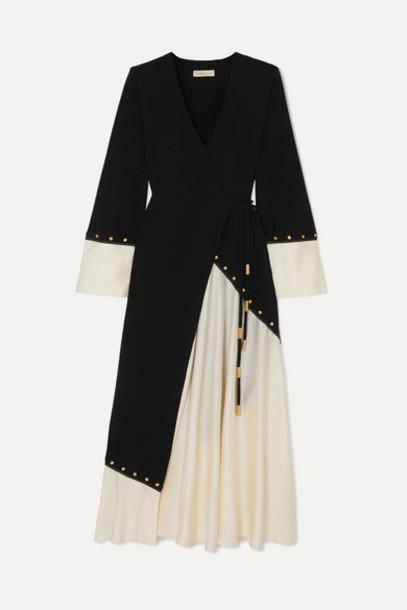 Tory Burch - Embellished Two-tone Crepe And Satin Wrap Midi Dress - Black