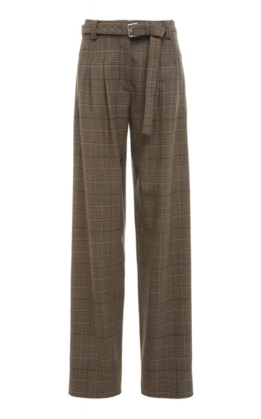 Proenza Schouler Belted Checked Wool-Blend Straight-Leg Pants in brown