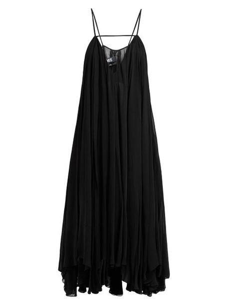 Jacquemus - Bellezza Draped Chiffon Midi Dress - Womens - Navy