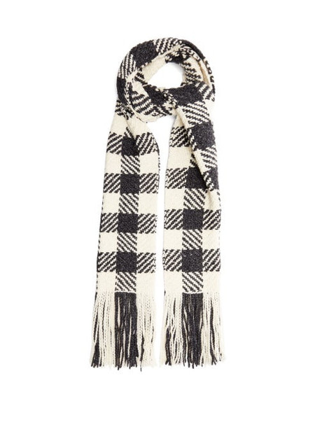 Aessai - Condor Extra-long Check Merino Wool-blend Scarf - Womens - White Black
