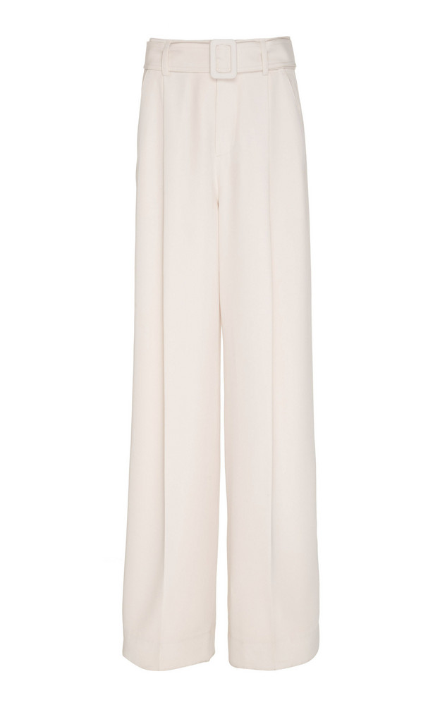 Vince Belted Crepe Wide-Leg Pants in white