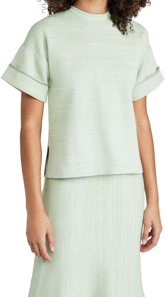 Victoria Victoria Beckham Boxy Soft Viscose Blend T-Shirt Top in green