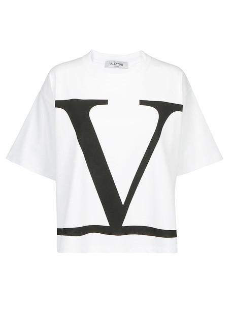 Valentino V Logo T-shirt in nero / bianco