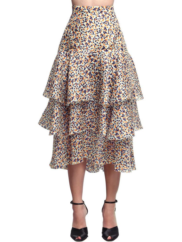 DELPOZO Ruffled Print Silk Organza Midi Skirt