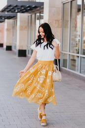 outfits&outings,blogger,skirt,t-shirt,shoes,top,bag,wedge sandals,wedges,midi skirt,yellow skirt,spring outfits