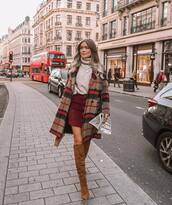 skirt,leather skirt,mango,knee high boots,heel boots,brown boots,turtleneck sweater,plaid,coat