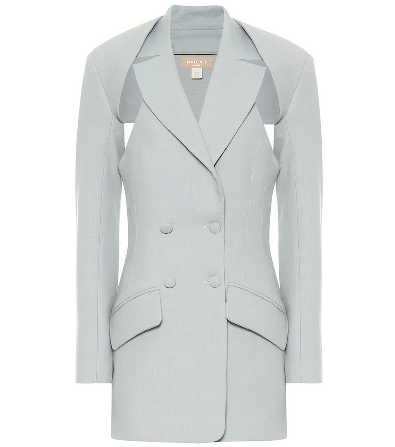 Matériel Tbilisi Wool-blend twill two-part blazer in grey