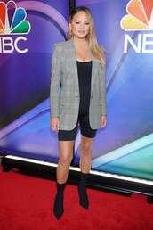 jacket,plaid,chrissy teigen,celebrity,shorts,ankle boots,boots,blazer