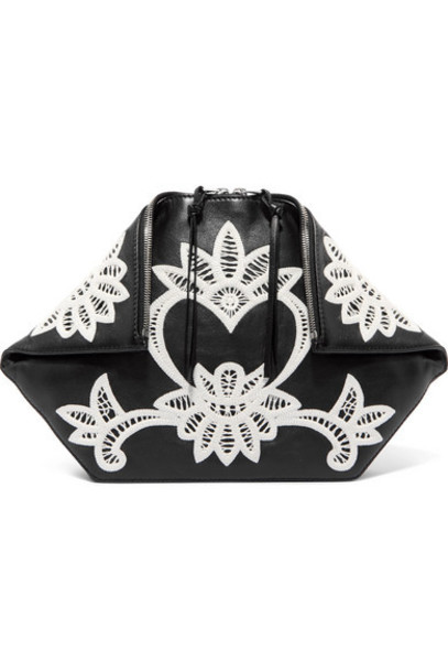 Alexander McQueen - Butterfly Crocheted Lace-trimmed Leather Pouch - Black