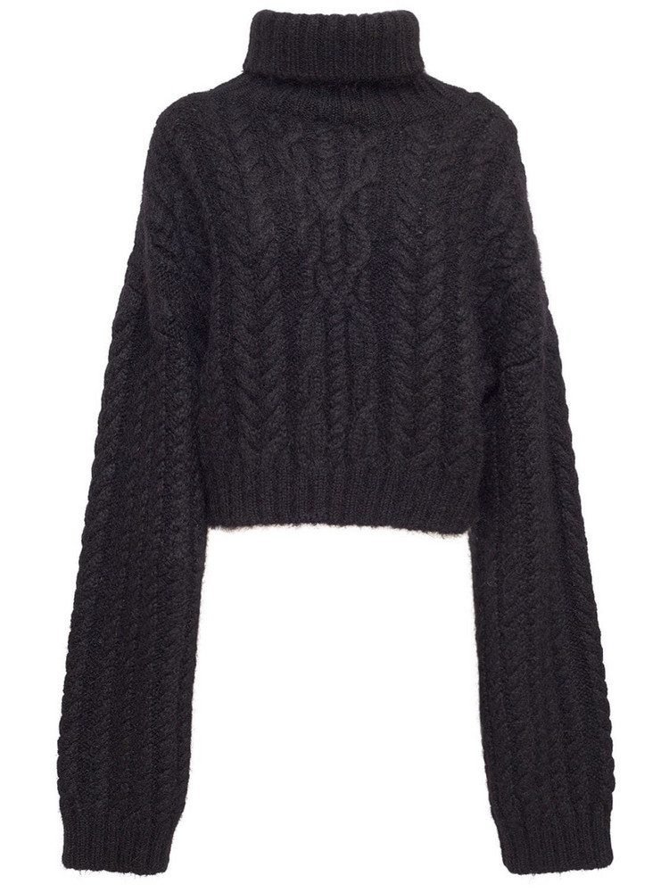 BALMAIN Mohair Blend Cable Knit Crop Sweater in black
