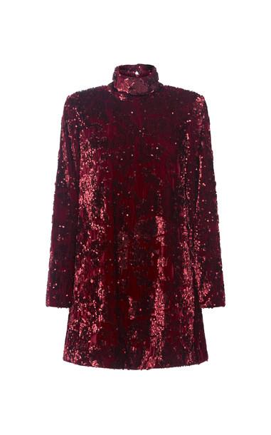 Aje Rebellion Embellished Velvet Mini Dress in red