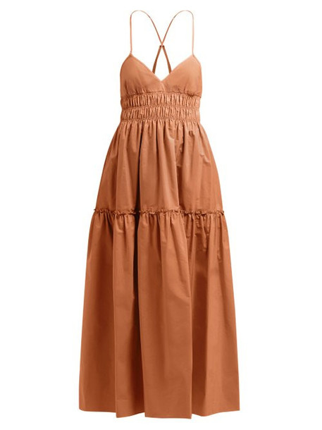 Three Graces London - Emma Shirred Waist Cotton Midi Dress - Womens - Light Brown