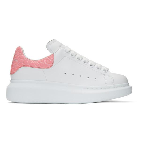 Alexander McQueen SSENSE Exclusive White & Pink Croc Oversized Sneakers