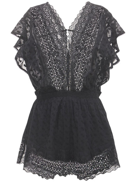 ISABEL MARANT ÉTOILE Tadeo Embroidered Cotton Romper in black