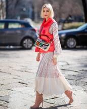 dress,maxi dress,white dress,long sleeve dress,vest,knee high boots,crossbody bag
