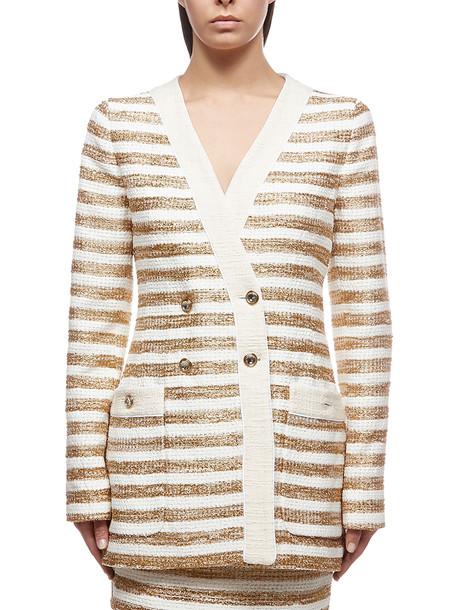 Alessandra Rich Striped Blazer in bianco