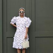 dress,white dress,mini dress,short sleeve dress,white bag,headband,sunglasses