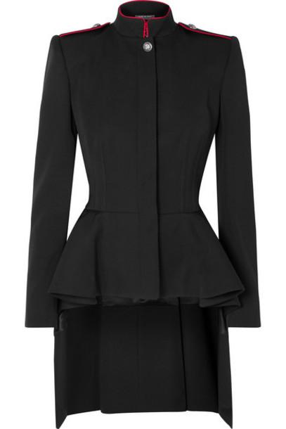 Alexander McQueen - Wool-crepe Peplum Blazer - Black